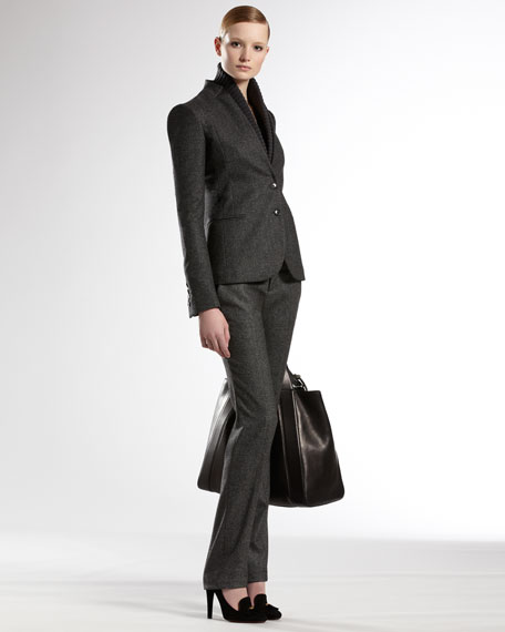 Contrast Detail Straight Pants