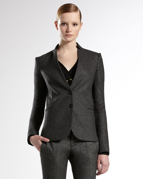 Jacket with Detachable Knit Collar