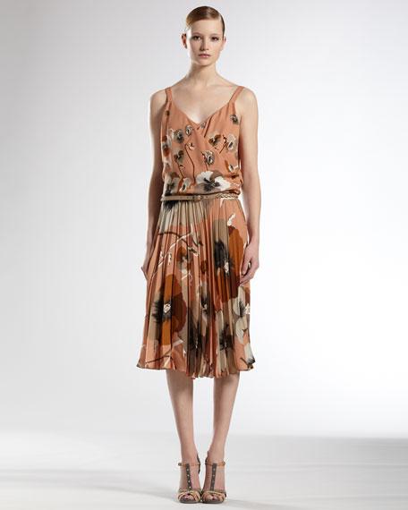 Oshibana Print Cocktail Dress