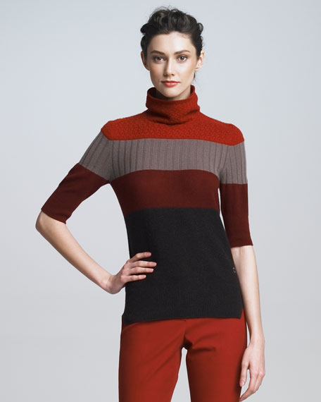Colorblock Cashmere Turtleneck