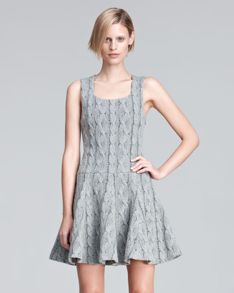 Sleeveless Cable Knit Flounce Dress