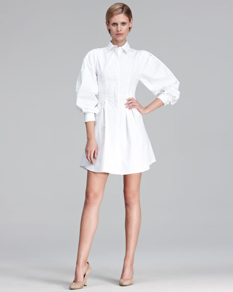 Puff-Sleeve Poplin Shirtdress