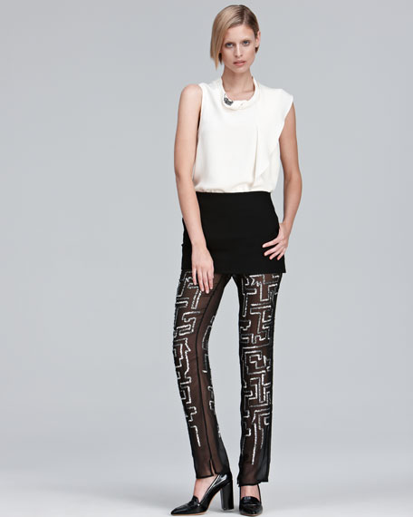 Sequined Chiffon Pants With Skirt