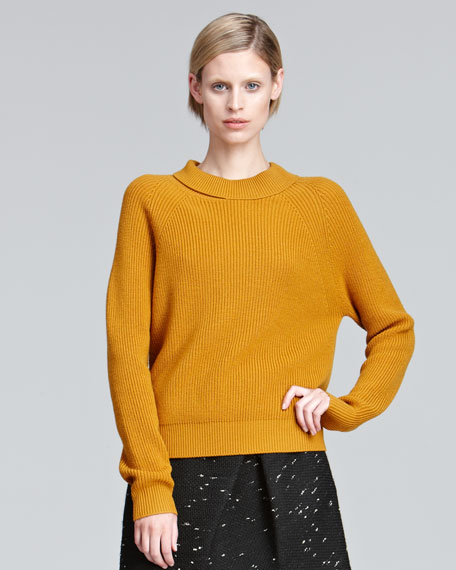 Draped-Neck Ribbed Sweater