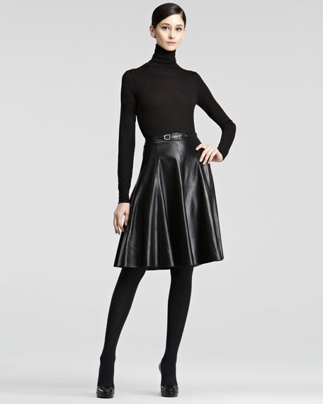 Veronica A-Line Leather Skirt
