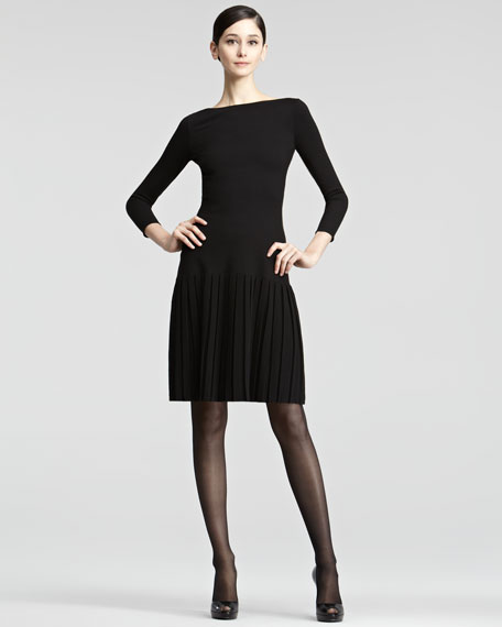 Pleated-Skirt Knit Dress