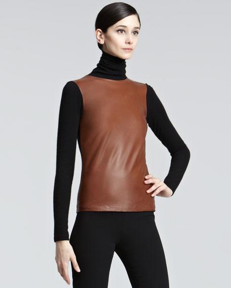 Leather Combo Turtleneck