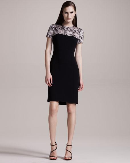 Lace-Print Stretch Dress
