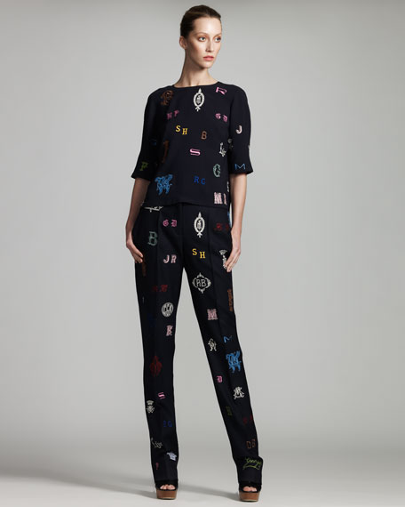 Monogram-Embroidered Pants