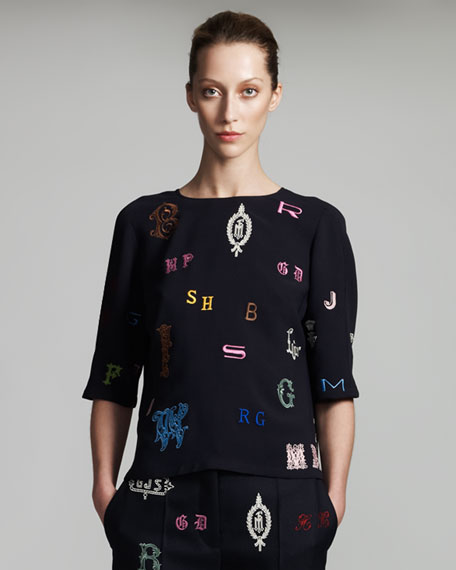 Monogram-Embroidered Blouse