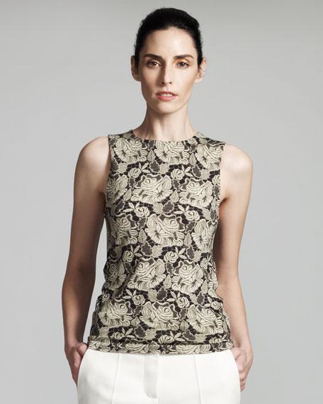 Lace-Print Jersey Shell