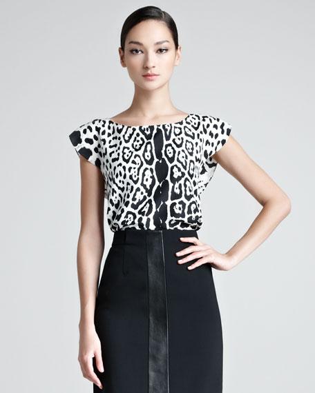 Snow Leopard-Print Blouse