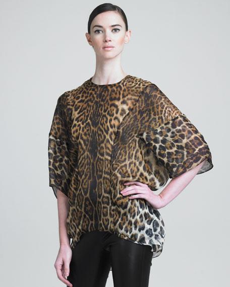 Leopard-Print Silk Tunic