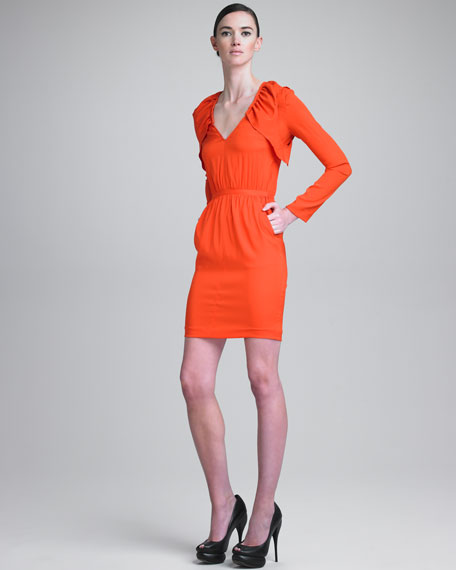 Stretch Charmeuse V-Neck Dress