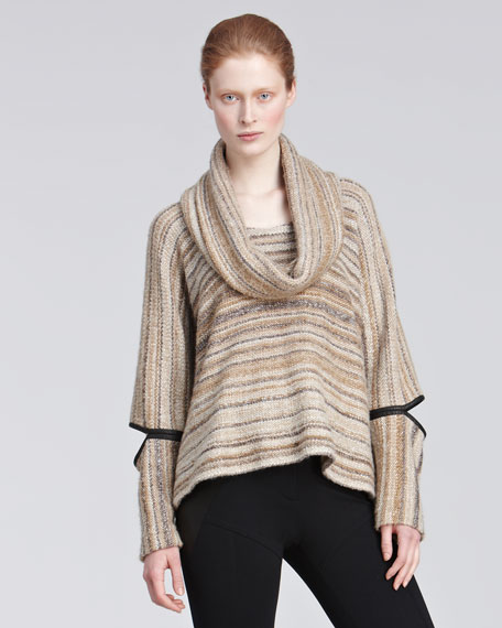 Cowl-Neck Sweater with Cutouts