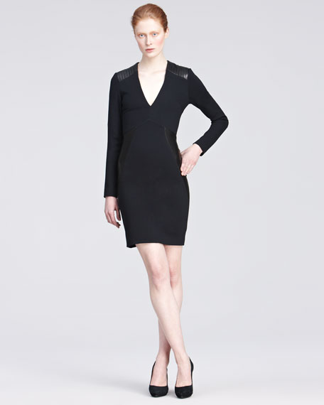 Ponte Knit Dress with Leather Accents