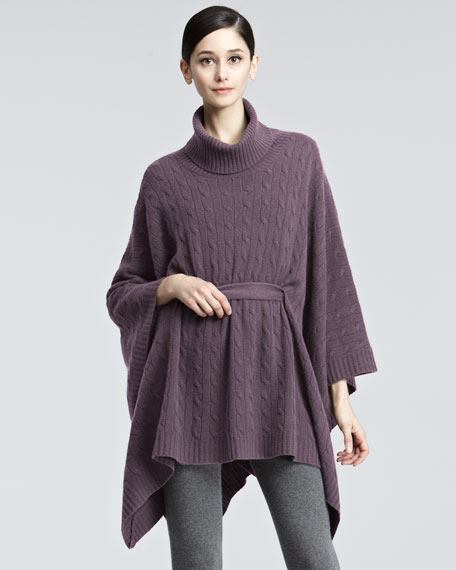 Oversized Cable Knit Poncho