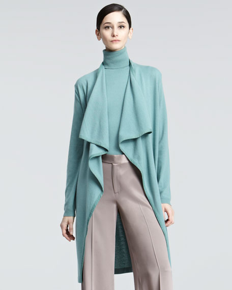 Suede-Trimmed Long Cashmere Cardigan