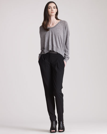 Tapered Leather-Waist Trousers