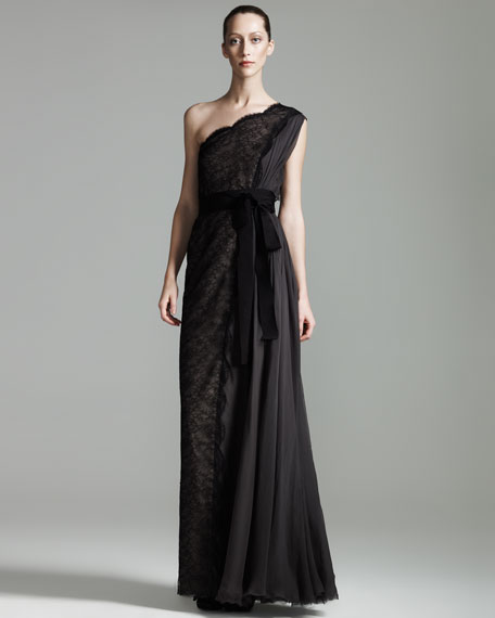 Lanvin One-Shoulder Lace Gown