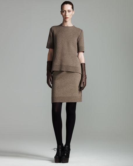 Melange-Knit Skirt