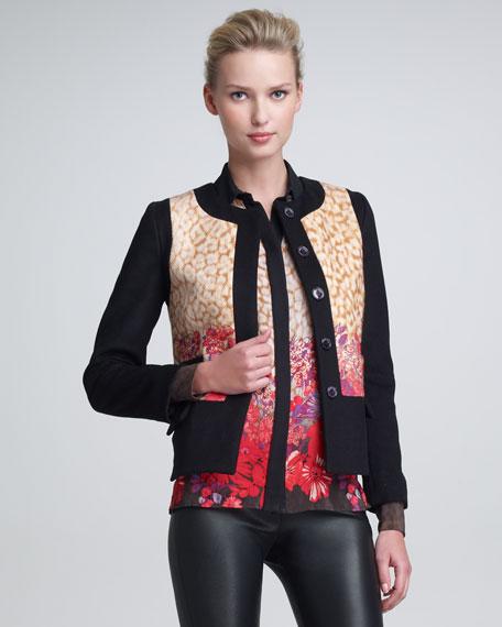 Leopard & Flower-Print Jacket