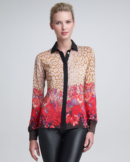 Leopard & Flower-Print Blouse