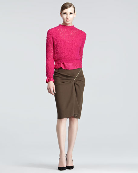 Double-Face Wool Pencil Skirt