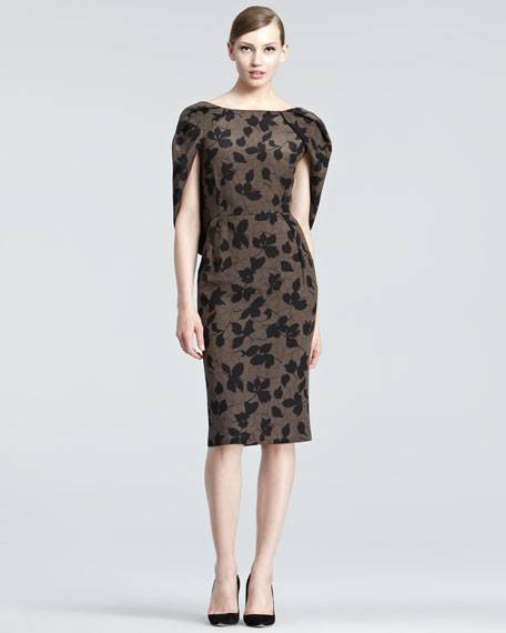 Draped Leaf-Print Dress