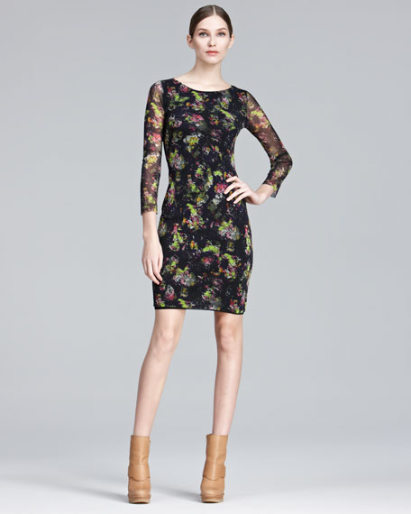 Printed Bracelet-Sleeve Dress