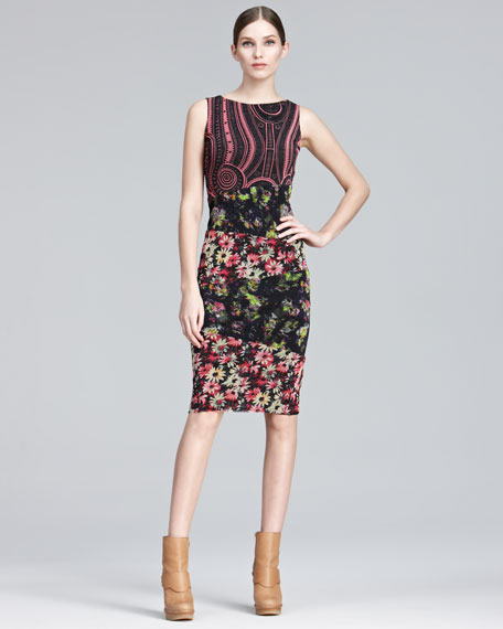 Mixed-Print Sheath Dress