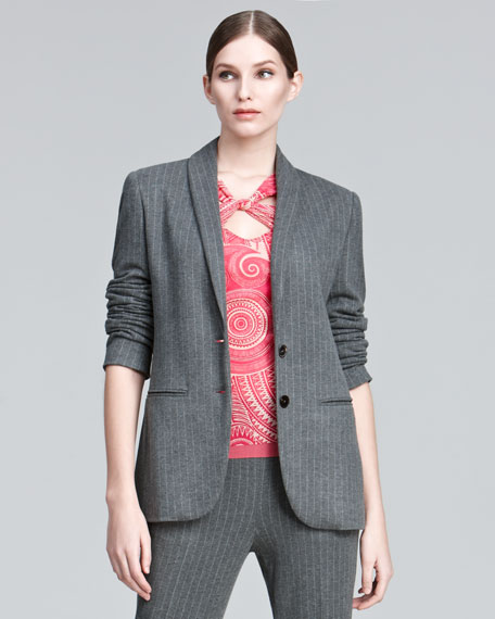 Shawl-Lapel Pinstripe Jacket