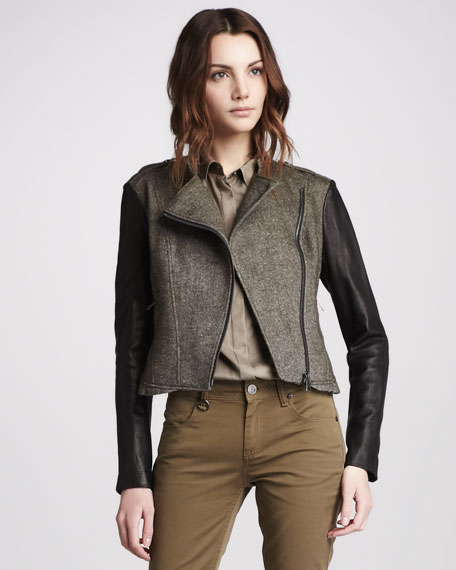 Leather-Sleeve Textured Jacket