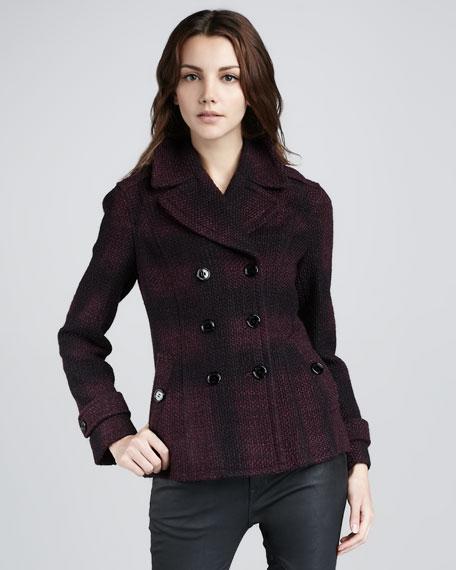 Check Tweed Pea Coat