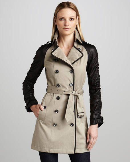 Leather-Sleeve Canvas Trenchcoat