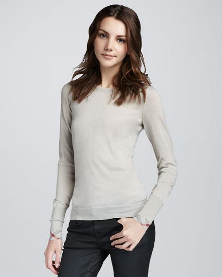 Check-Cuff Merino Sweater