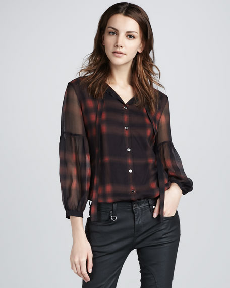 Check Georgette Blouse, Rowanberry