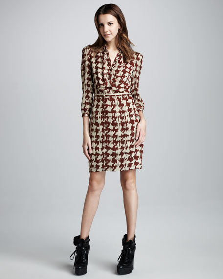 Houndstooth Georgette Dress