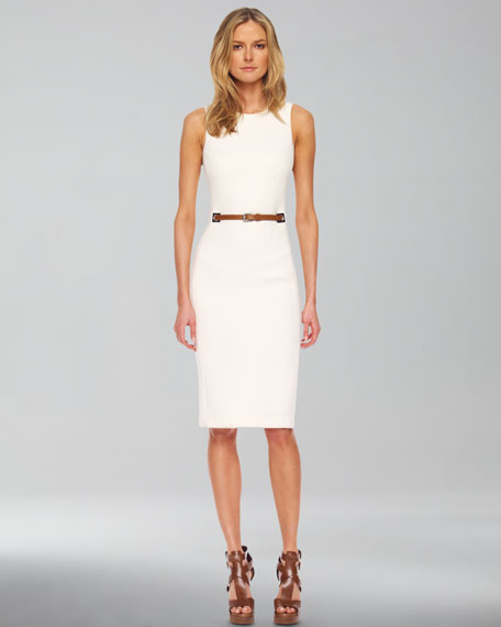 Belted-Waist Sheath Dress