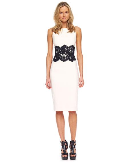 Lace-Detailed Boucle Sheath Dress