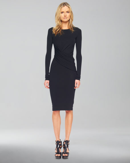Long-Sleeve Faux-Wrap Dress, Black