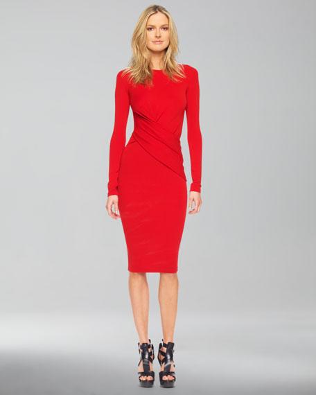 Long-Sleeve Faux-Wrap Dress, Crimson