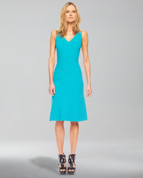 Merino Half-Sleeve Shrug Asymmetric-Panel A-Line Dress