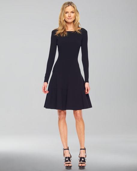 Long-Sleeve Bubble Dress, Black