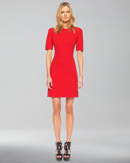 Stretch Boucle Shift Dress, Red