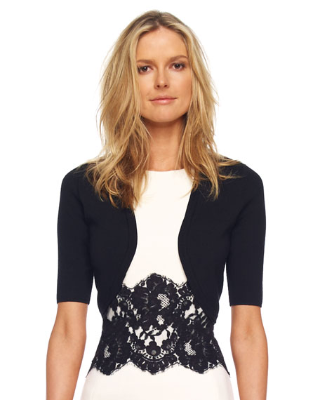 Merino Half-Sleeve Shrug, Black