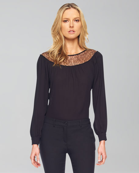 Lace-Inset Long-Sleeve Blouse