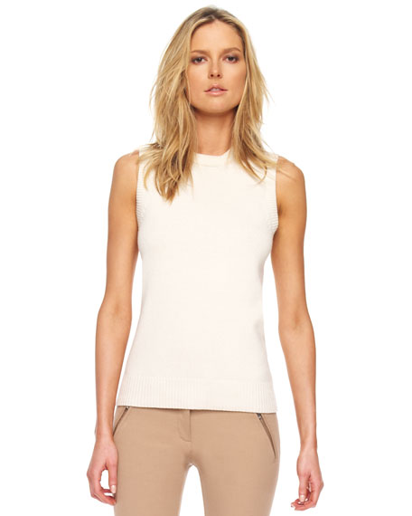 Removable-Collar Knit Shell, Ivory