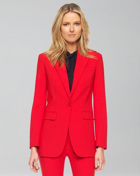 Wool One-Button Blazer, Crimson