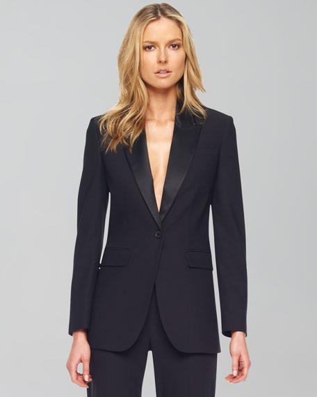 Wool One-Button Blazer, Black